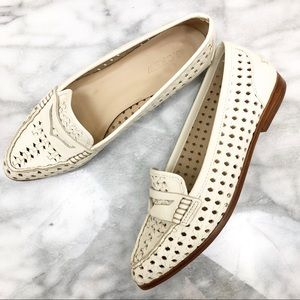 J. Crew Collins woven off-white leather loafer